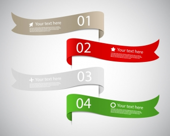 sets of multicolored curled ribbon infographic