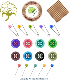 sewing work design elements colorful logo tool accessories design