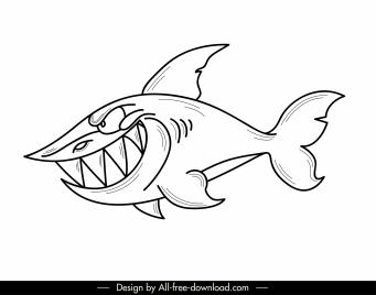 shark icon cartoon character black white hanndrawn design