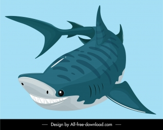 shark icon colored cartoon sketch hunting gesture