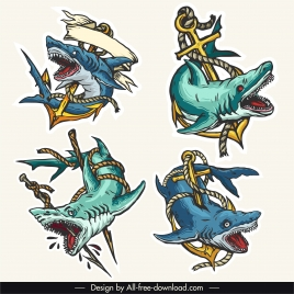 shark tattoo icons colorful dynamic violent design
