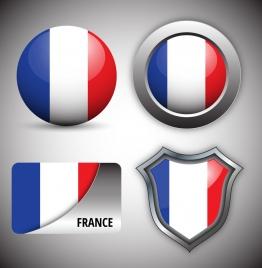 shiny france logo design sets collection