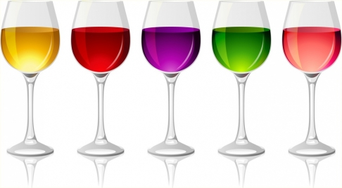 shiny wine glasses icons collection colorful liquid ornament