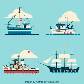 ship icons colored flat sketch modern classic models
