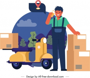 shipper conception painting delivery man icon cartoon character