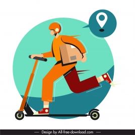 shipper icon man scooter icon motion cartoon sketch