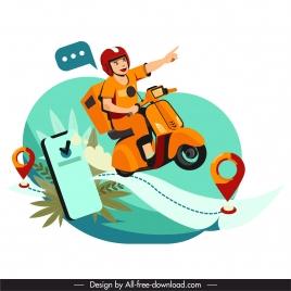shipper job background navigation elements smartphone man sketch