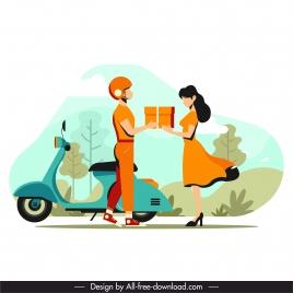 shipper job painting romantic sketch cartoon design