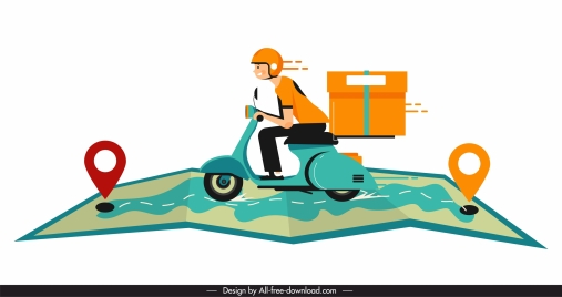 shipping background motorbike map sketch motion design