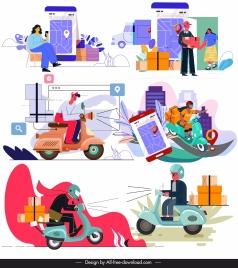 shipping icons colorful cartoon characters sketch