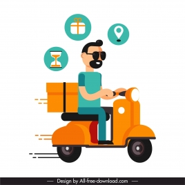 shipping job icon man ridding scooter cartoon sketch