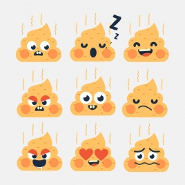 shit icons collection cute emotional decoration