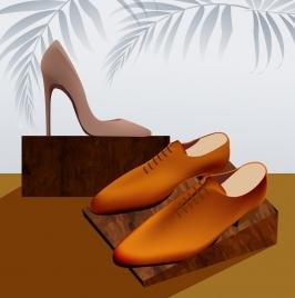 shoes advertisement shiny colored 3d decor