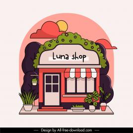 shop exterior background elegant colorful flat classic sketch