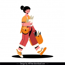 shopper icon colored cartoon character sketch