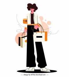 shopper icon colored handdrawn cartoon sketch