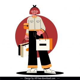 shopper woman icon colored cartoon character sketch
