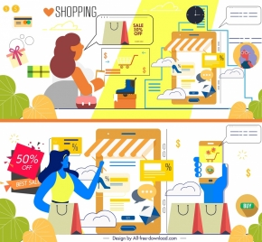 shopping background templates sales design elements cartoon sketch