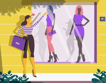 shopping background woman clothes store front icons decor
