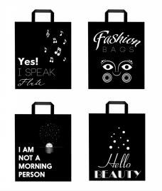 shopping bags icons isolation black white decoration