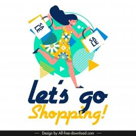 shopping banner joyful shopper icon colorful flat design
