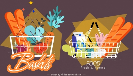 shopping basket icons dark colored classical sketch