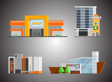 shopping center design with various sketches