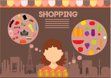 shopping concept design woman and speech baubles style