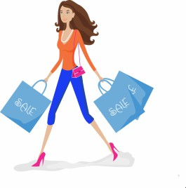 Shopping girl with sale bags