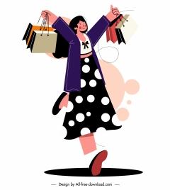 shopping icon joyful woman sketch cartoon design