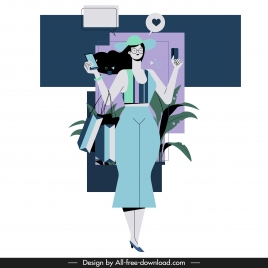 shopping lady icon colored cartoon character sketch
