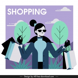 shopping lady icon contemporary lifestyle cartoon character