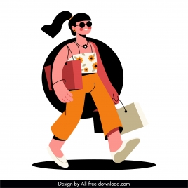 shopping lady icon contemporary sketch cartoon character