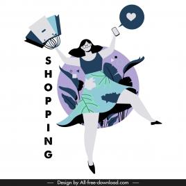 shopping lifestyle icon joyful woman sketch cartoon character