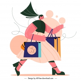 shopping painting lady motion sketch cartoon design