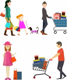 shopping people icons in colored flat design