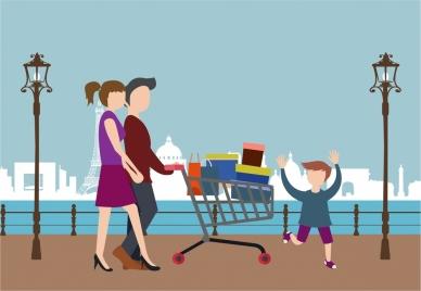 shopping people theme design family pushing cart illustration