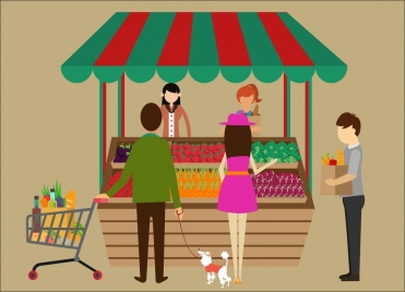 shopping theme clerks and customers at food store