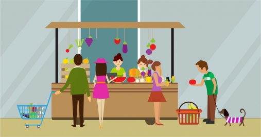 shopping theme design customers at fruit store style