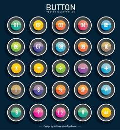 sign buttons templates colorful modern transparent circles