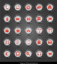 sign icons collection shiny modern circle buttons