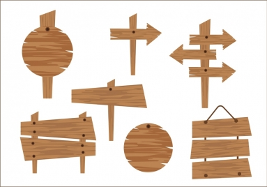 signboard collection retro wooden design