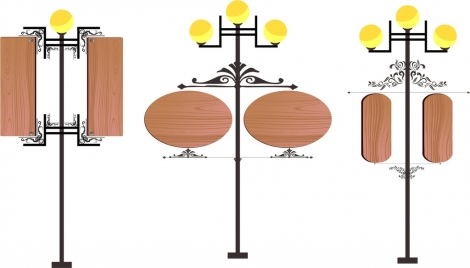 signboard sets various shapes retro wooden ornament