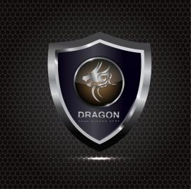 silver shield icon shiny decoration dragon design