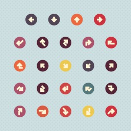 simple arrow rounded icon set