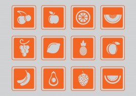 simple fruit icons set