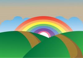 simple rainbow landscape