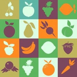 simple silhouette fruits icons collections