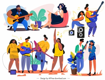 singing icons colored cartoon characters sketch