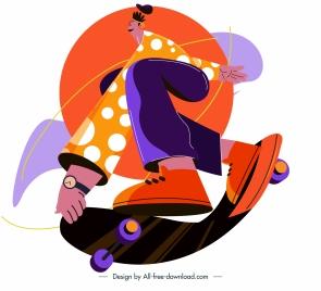 skateboard icon colorful dynamic youth sketch